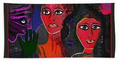Bath Towel featuring the digital art 1977 - Faces Red by Irmgard Schoendorf Welch