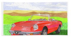 Bath Towel featuring the painting 1983 Alfa Romero Spider Veloce by Jack Pumphrey