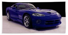 Hand Towel featuring the digital art 1997 Dodge Viper Gts Blue by Chris Flees
