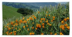 1a6493 Mt. Diablo And Poppies Hand Towel