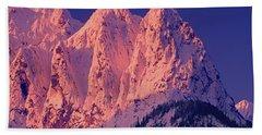 1m4503-a Three Peaks Of Mt. Index At Sunrise Hand Towel