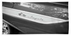 Hand Towel featuring the photograph 1961 Chevrolet Impala Ss Bw by Rich Franco