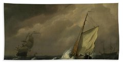 A Small Dutch Vessel Close-hauled In A Strong Breeze Hand Towel
