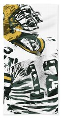 Aaron Rodgers Green Bay Packers Pixel Art 4 Bath Towel by Joe Hamilton
