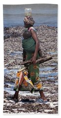 African Woman Collecting Shells 1 Hand Towel