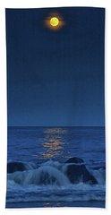 Allenhurst Beach Full Moon Rise Hand Towel