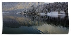 Alpine Winter Reflections Bath Towel