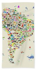 Animal Map Of South America For Children And Kids Bath Towel