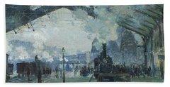 Arrival Of The Normandy Train Gare Saint-lazare Bath Towel by Claude Monet