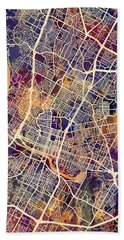 Austin Texas City Map Hand Towel