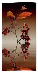Hand Towel featuring the photograph Autumn Leafs And Red Berries by David French