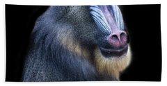 Baboon Portrait Hand Towel