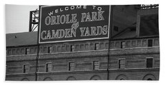 Baltimore Orioles Park At Camden Yards Bw Hand Towel