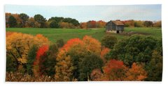 Hand Towel featuring the photograph Barn On Autumn Hillside by Angela Rath