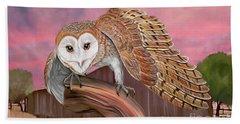Barn Owl Bath Towel by Walter Colvin