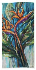 Hand Towel featuring the painting Bird Of Paradise Bouquet by Linda Olsen