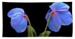 Blue Poppies Bath Towel by Jeannie Rhode