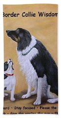 Hand Towel featuring the painting Border Collie Wisdom by Fran Brooks