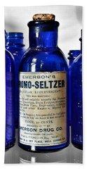 Bromo Seltzer Vintage Glass Bottles Collection Hand Towel