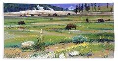 Buffaloes In Yellowstone Hand Towel