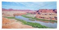 Canyon Of Colorado River In Utah Aerial View Hand Towel