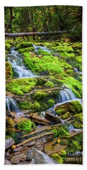 Bath Towel featuring the photograph Cascading Waterfall by Elena Elisseeva