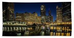 Chicago River And Skyline At Dawn Hand Towel