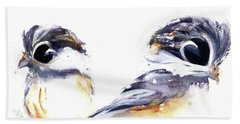 Hand Towel featuring the painting 2 Chickadees by Dawn Derman
