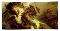 Bath Towel featuring the painting Collision Of Moorish Horsemen by Eugene Delacroix