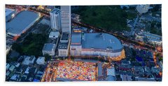Bath Towel featuring the photograph Colourful Night Market Aerial View by Pradeep Raja PRINTS