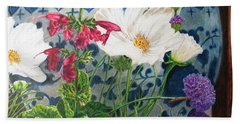 Hand Towel featuring the painting Cosmos by Karen Ilari