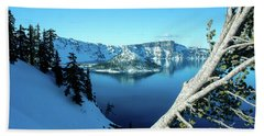 Crater Lake Winterscape Hand Towel by Nick Boren