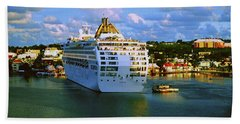 Cruise Ship In Port Hand Towel by Gary Wonning