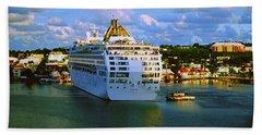 Cruise Ship In Port Bath Towel