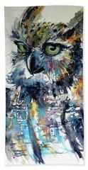 Cute Owl Hand Towel by Kovacs Anna Brigitta