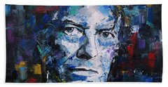 Bath Towel featuring the painting David Bowie by Richard Day