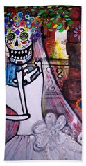Hand Towel featuring the painting Day Of The Dead Bride by Pristine Cartera Turkus