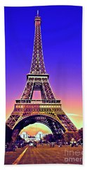 Eiffel Tower Hand Towel by Charuhas Images