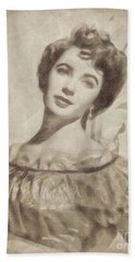 Elizabeth Taylor, Vintage Hollywood Legend By John Springfield Hand Towel