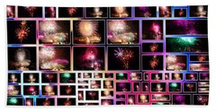 Fireworks Pictures Collage Bath Towel