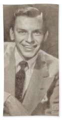 Frank Sinatra Hollywood Singer And Actor Hand Towel by John Springfield