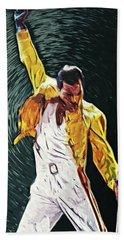 Freddie Mercury Bath Towel by Taylan Apukovska