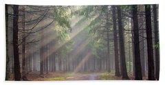 God Beams - Coniferous Forest In Fog Bath Towel