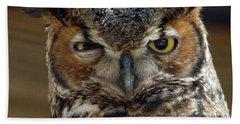 Great Horned Owl Hand Towel by John Black