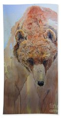 Grizzly Bath Towel by Laurianna Taylor
