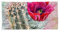 Hedgehog Cactus Hand Towel by Marilyn Smith