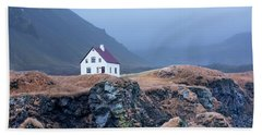House On Ocean Cliff In Iceland Hand Towel by Joe Belanger