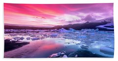 Icebergs In Jokulsarlon Glacial Lagoon Hand Towel