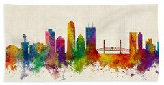 Jacksonville Florida Skyline Bath Towel