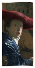 Attributed To Johannes Vermeer Girl With A Flute Probably Hand Towel
